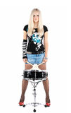 Rock-n-roll With The Beautiful Blonde Royalty Free Stock Photo