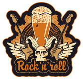 Rock n toll and beer. Banner for the pub with live music Stock Photo