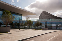 The Rock and the new terminal. The new International Airport Terminal in Gibraltar Royalty Free Stock Photos