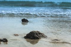 The rock from the ocean. The rock in front of the water wave, the water wave is coming soon stock image