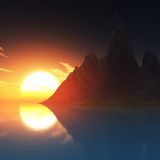 Rock in ocean and sunset Royalty Free Stock Photography