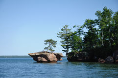 Rock Off Basswood Island of the Apostle Islands Royalty Free Stock Photo