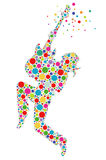 Rock Out! Guitarist  - Illustration. Dotted colorful guitarist silhouette on white backdrop Stock Image