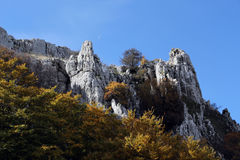Rock outcroppings in autumn, with the moon. A composition with some rock outcroppings surrounded by the branches and leaves of some beech trees, in autumn Royalty Free Stock Images