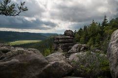 Rock ovanför skogen arkivbilder