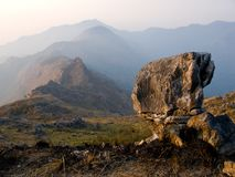 A rock over The Hills. Beautiful landscape of mountain stock photography