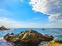 The rock over Mediterranean sea, Manarola, Cinque Terre, Italy Stock Images