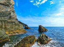 The rock over Mediterranean sea, Manarola, Cinque Terre, Italy Stock Image