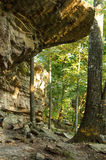 Rock overhang in the woods stock images