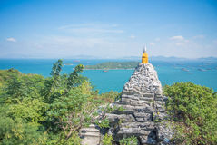 Rock pagoda. The beautiful old pagoda make from stone and rock on sunshine day with the blue sky Stock Images