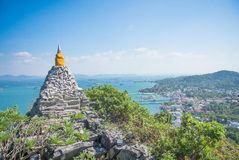 Rock pagoda. The beautiful old pagoda make from stone and rock on sunshine day with the blue sky Stock Photos