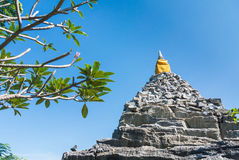 Rock pagoda. The beautiful old pagoda make from stone and rock on sunshine day with the blue sky Royalty Free Stock Photos