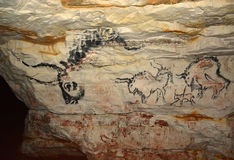 Rock painting in caves Sablinskaya Royalty Free Stock Images