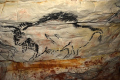 Rock painting in caves Sablinskaya Royalty Free Stock Image