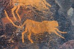 Rock painting of a cheetah royalty free stock photo