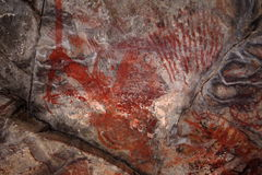 Rock paintings and cave painting in the Caatinga of Brazil Royalty Free Stock Image