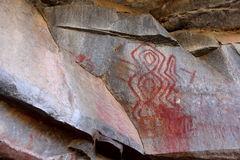 Rock paintings and cave painting in the Caatinga of Brazil Stock Photos