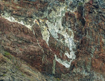 Rock paintings on the coast in Russkaya Bay at southwestern part of Avacha Gulf of Pacific ocean Stock Images