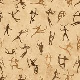 Rock paintings with ethnic people, seamless Stock Images