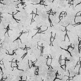 Rock paintings with ethnic people, seamless Royalty Free Stock Photography