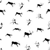 Rock paintings with Hunting scene. Seamless pattern, vector illustration stock illustration