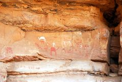Rock paintings, Libya. Rock paintings in the desert, Libya Stock Images