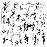Rock paintings. Set of vector rock paintings with scenes of hunting and life stock illustration