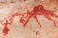 Rock paintings of Tassili N'Ajjer, Algeria. Famous prehistoric rock paintings of Tassili N'Ajjer, Algeria Stock Image