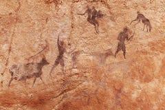 Rock paintings of Tassili N'Ajjer, Algeria. Famous prehistoric rock paintings of Tassili N'Ajjer, Algeria Royalty Free Stock Images