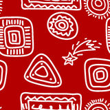 Rock Paintings White on Red. Seamless background - rock paintings theme. White on red. EPS10 vector illustration, swatch included Royalty Free Stock Photos