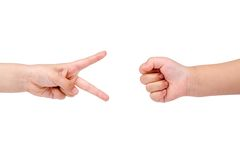 Rock Paper Scissors game Royalty Free Stock Photos
