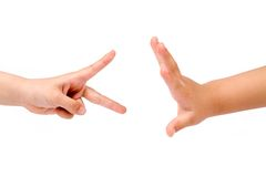 Rock Paper Scissors game Royalty Free Stock Photography