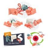 Rock, paper, scissors game hand sign for childhood concept - vec. Tor illustration Stock Photos