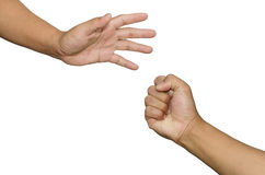 Rock-paper-scissors game settled lose - win between two people Royalty Free Stock Images