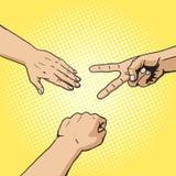 Rock paper scissors hand game pop art style vector Stock Photos