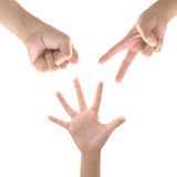 Rock paper scissors. kid hand Stock Images