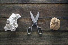 Rock, Paper, Scissors Royalty Free Stock Photos
