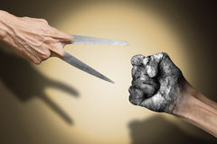 Rock paper scissors. Success concept royalty free stock photography