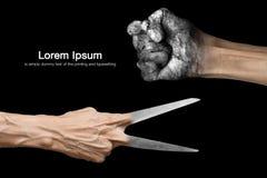 Rock paper scissors. Success concept Stock Images