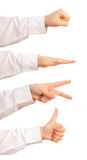 Rock paper scissors and thumbs up Royalty Free Stock Image