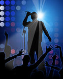 Rock Party  blue background. With singer Stock Photo