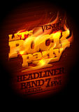 Rock party design with burning headline text royalty free illustration
