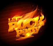 Rock party logo design. Burning text Royalty Free Stock Photography