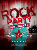 Rock party poster vector illustration