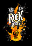 Rock party poster design with guitar. Rock party poster design with electro guitar made from blots Royalty Free Stock Images