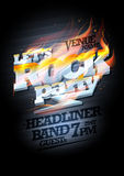Rock party poster design mockup, burning metal headline Royalty Free Stock Images