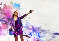 Rock passionate girl with black wings Stock Images