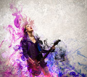 Rock passionate girl with black wings Stock Photography