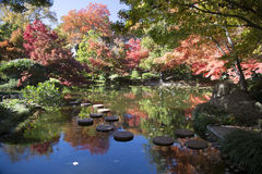 Rock path in pretty Japanese garden Stock Photos
