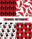 Rock pattern. Set seamless patterns theme of rock music. Rock h royalty free illustration